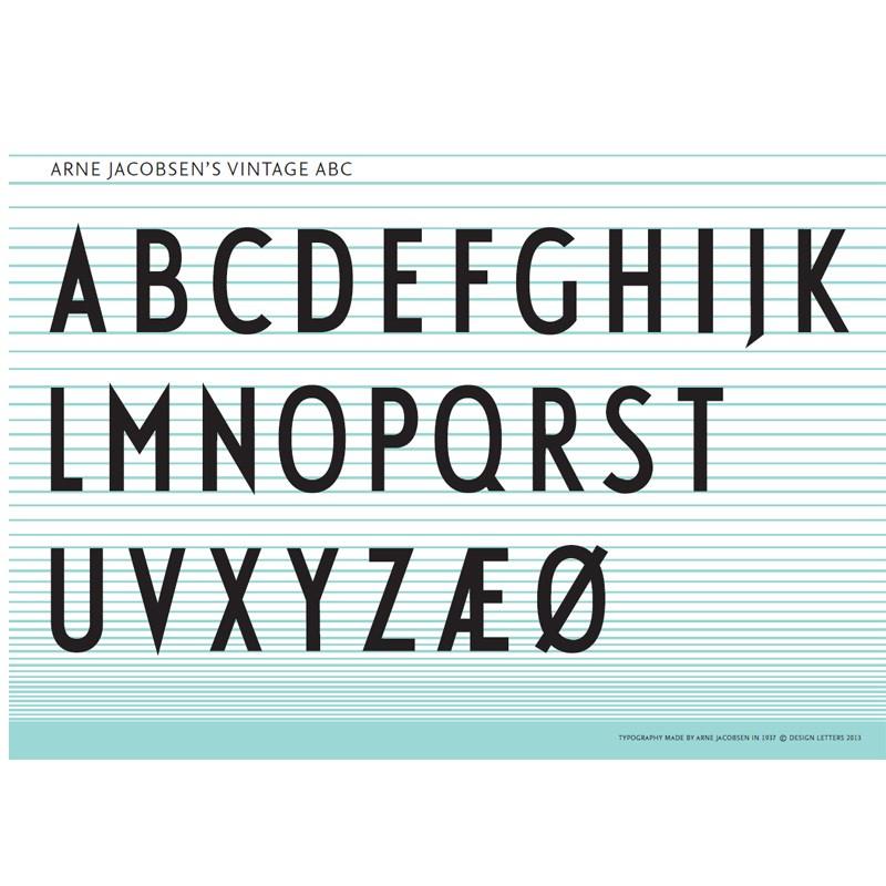 design letters arne jacobsen vintage abc plakat. Black Bedroom Furniture Sets. Home Design Ideas