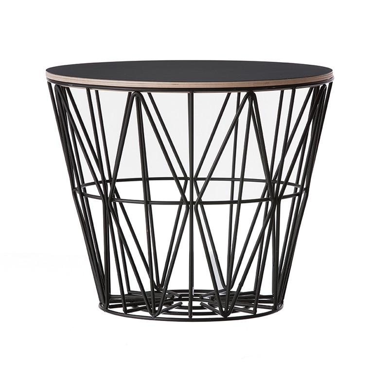 ferm living wire basket top i sort ferm living bord. Black Bedroom Furniture Sets. Home Design Ideas