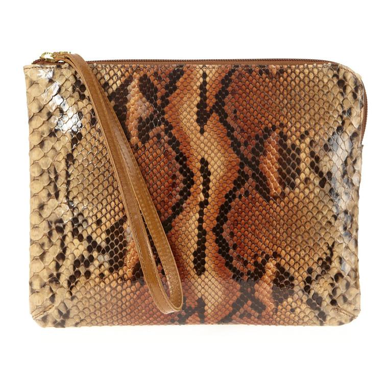 Belsac stor skindclutch i slangeskind