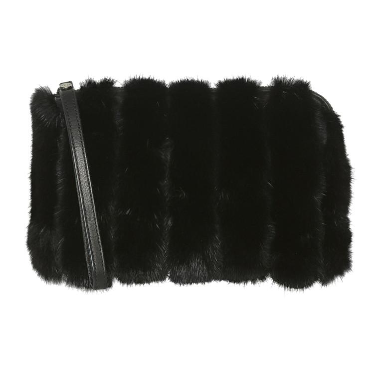Belsac By Kopenhagen Fur skind/mink skuldertaske med lynlås og lang kæde