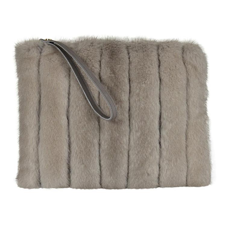 Belsac By Kopenhagen Fur skind/mink clutch med lynlås