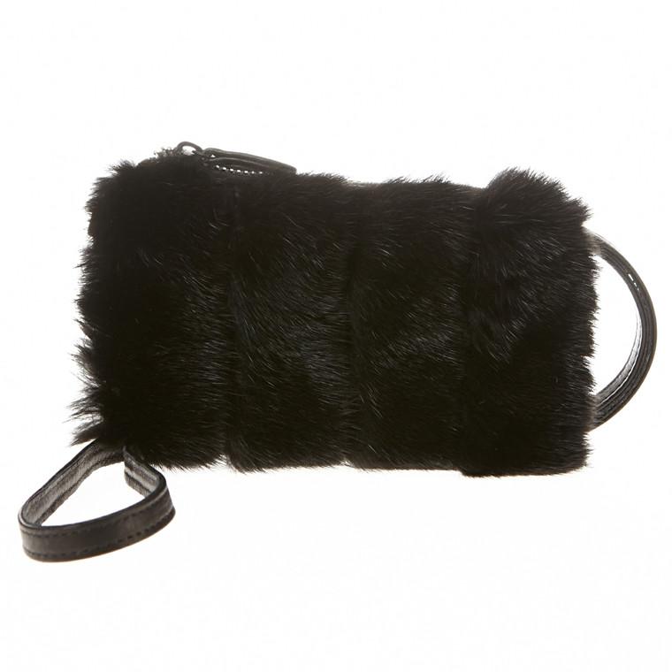 Belsac By Kopenhagen Fur skind/mink mobiltaske med lynlås