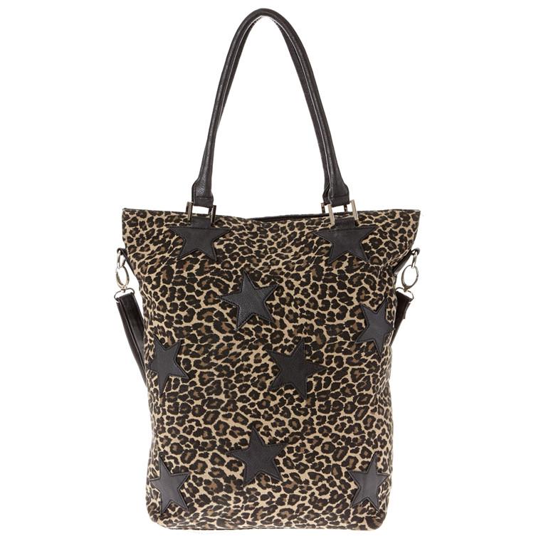 Amust høj canvas taske med stjerner og zebra look