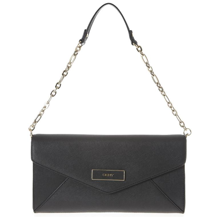 DKNY Saffiano aflang skind taske med kæde