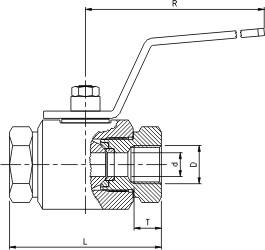 Syrefast kugleventil med indv. rørgevind (IR)