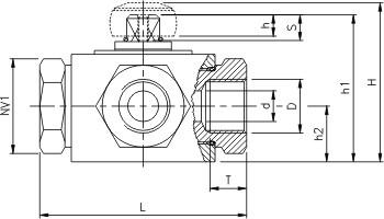 Titanium 3-vejs kugleventil med indv. rørgevind (IR)