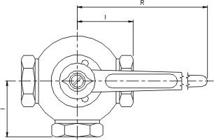 Syrefast 3-vejs kugleventil med indv. rørgevind (IR)