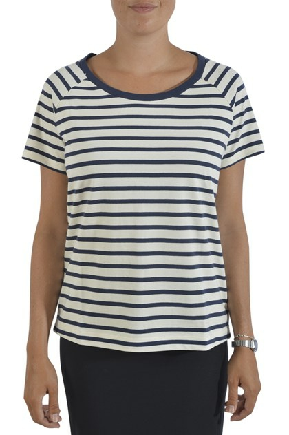 Lollys Laundry, Kyle T-shirt, Creme/Navy