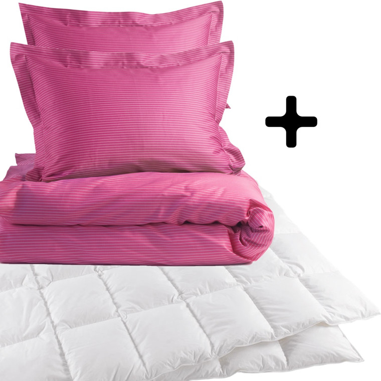 Dobbeltdyne incl. small stripe pink sengetøj 200x220