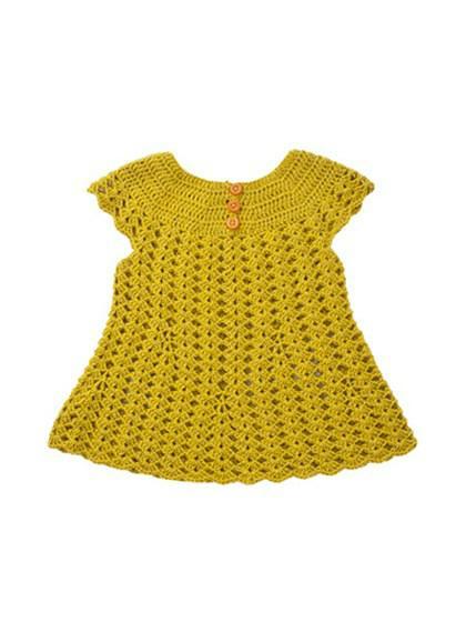 Hæklet kjole med rundt bærestykke