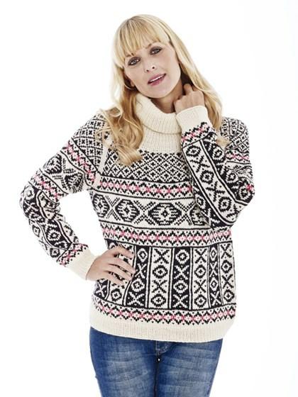 Sweater med grafisk kelimmønster