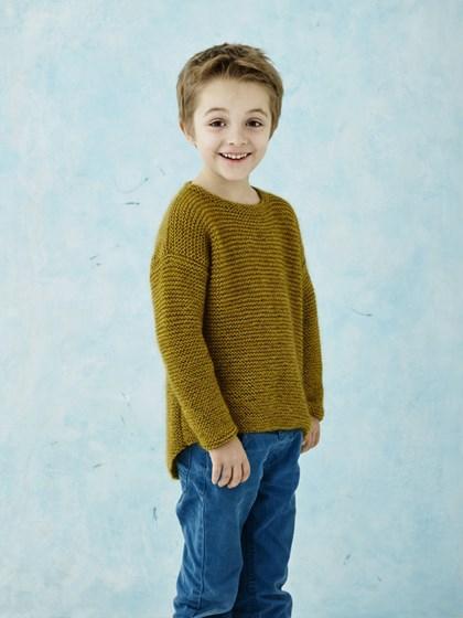 Drengesweater med buet kant