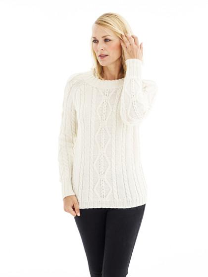 Sweater med tredimensionelle snoninger