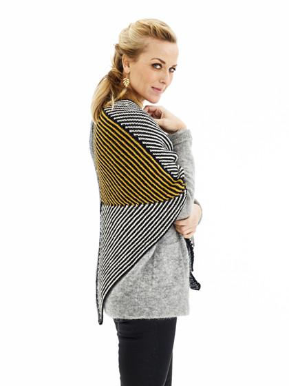 GRATIS OPSKRIFT - Retstrikket sjal med striber