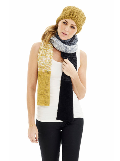 Halstørklæde med dipdyeeffekt + Hue med streger - GRATIS OPSKRIFT