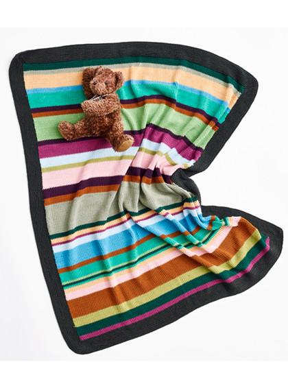 Stribet babytæppe