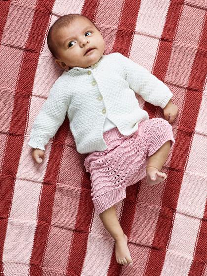 Signe perlestrikket babycardi