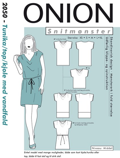 Snitmønster, Tunika/top/kjole med vandfald