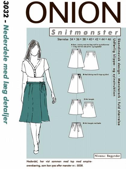 Snitmønster, Nederdele med læg detaljer