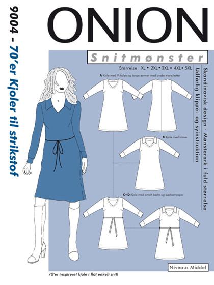 Snitmønster, Plus-størrelser, 70´er kjoler  til strikstof