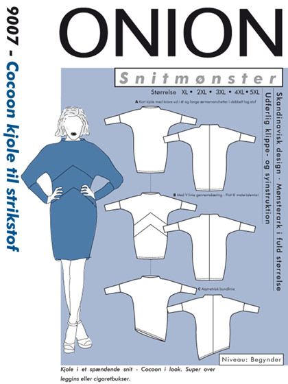Snitmønster, Plus-størrelser, Cocoon kjole til strikstof