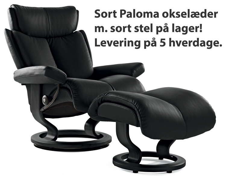 Stressless Magic (Large) inkl. skammel i sort læder