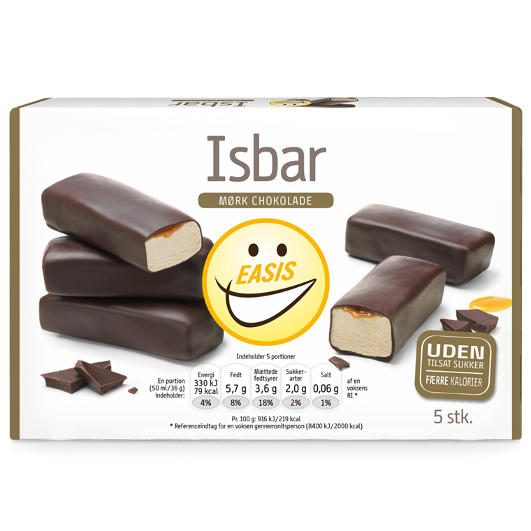 Ice cream bar with dark chocolate