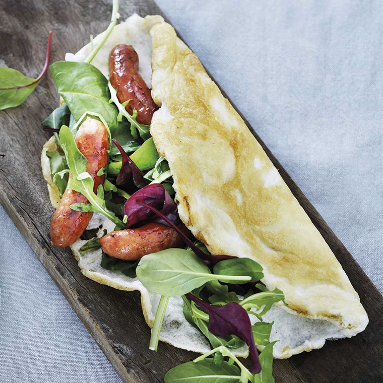 Egg White Omelet with Sausages and Greens