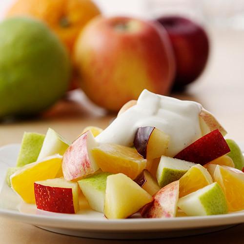 Fruktsalat med vaniljekrem