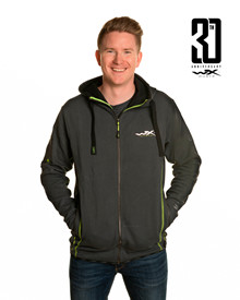 WX Premium Hoodie<br />Grey w Flash Green