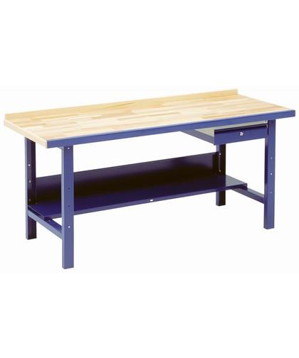 Blika VBB værkstedsbord 2,5 mtr. m/ skuffe og hylde