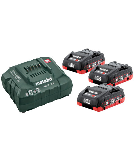 Metabo 18V batterisæt m/ 3 stk. 4,0Ah LiHD batterier + oplader