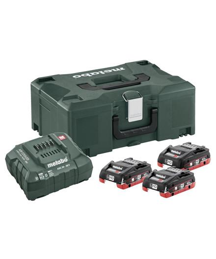 Metabo 18V batterisæt m/ 3 stk. 4,0Ah LiHD batterier + oplader og Metaloc II