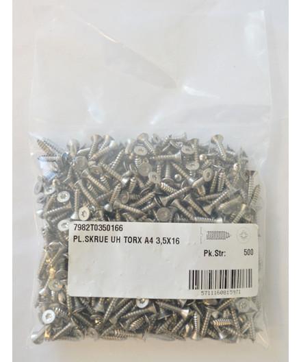 Pladeskruer rustfri 3,5x16 mm UH 500 stk.