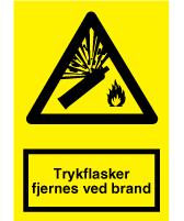 Advarselsskilt - Trykflasker fjernes ved brand - selvkl. 297x210 mm