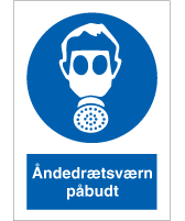 Påbudsskilt - Åndedrætsværn påbudt - plast 297x210 mm
