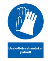 Påbudsskilt - Beskyttelseshandsker påbudt - plast 210x148 mm