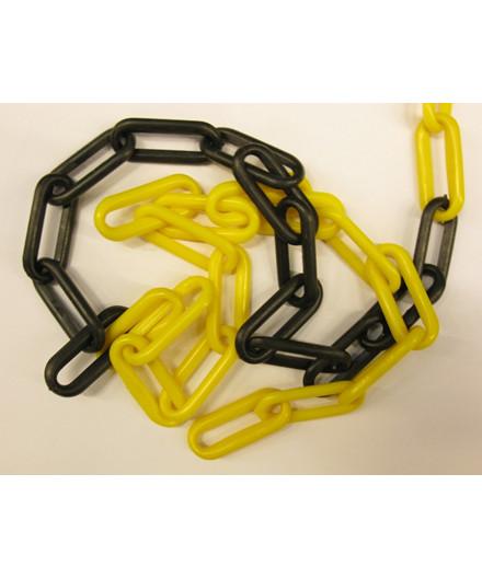 Plastikkæde gul/sort - 25 meter