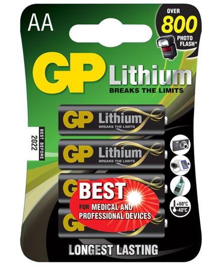 GP Lithium batterier 1,5V AA/FR6 4 stk.