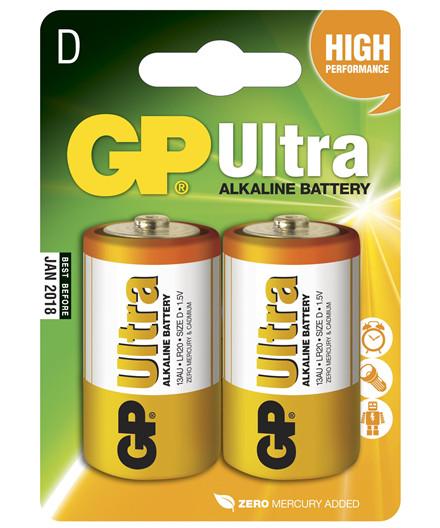 GP batterier Ultra Alkaline LR20/D 2 stk.