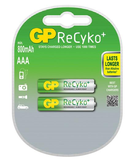 GP ReCyko NiMH genopladelige batterier AAA/R03 800 mAh 2 stk.