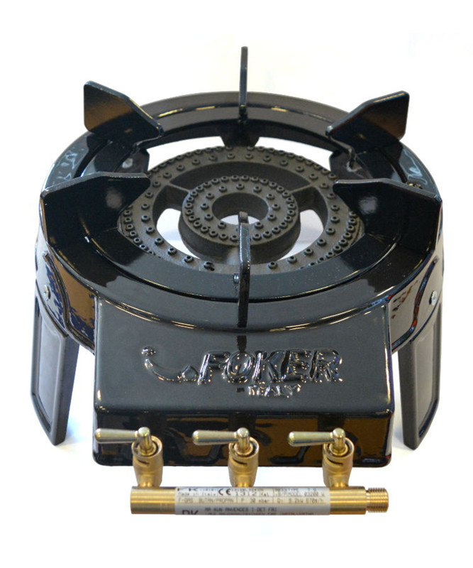 Foker gasblus emaljeret - wokbrænder til udendørs brug ekskl. slange og regulator