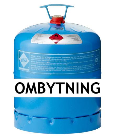 Kosangas 3 kg gas ved ombytning af Campingaz blå CGI flaske (afhentet)