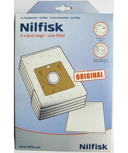 Nilfisk støvposer Bravo/Sprint - 5 stk + forfilter