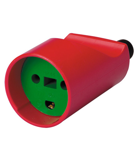 Schneider hunstik 250V rund rød/grøn m/ jord