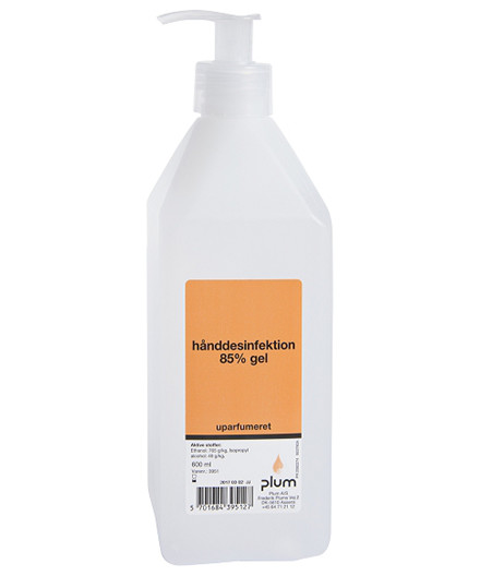 Plum hånddesinfektion 85% gel 600 ml pumpeflaske