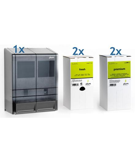 Plum MP 2000 dispenser + 2x Fresh håndsæbe + 2x Premium håndrens