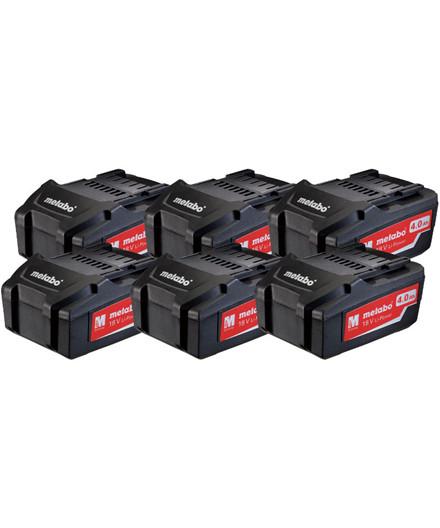 Metabo sæt m/ 6 stk. 18V 4,0Ah Li-Power batterier