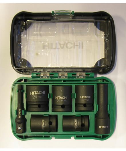 """Hitachi 1/2"""" slagtopsæt m/ 7 dele"""
