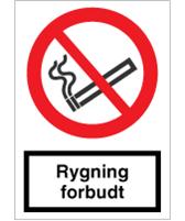 Forbudsskilt - Rygning forbudt - selvkl. 210x148 mm